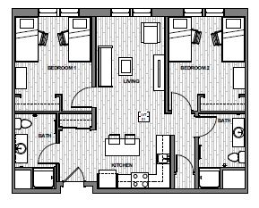 Jackson Two-Bedroom Unit Layout